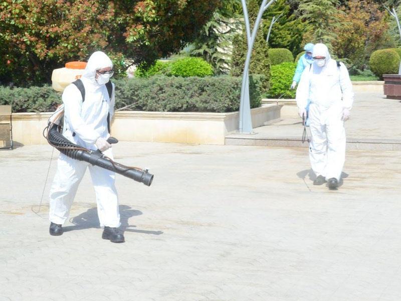 Ağsu dezinfeksiya edilir - Bina və küçələr dərmanlandı