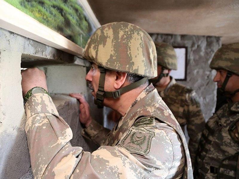Zakir Həsənov Ermənistan ordusunun mövqelərini müşahidə edib və müvafiq tapşırıqlar verib - VİDEO - FOTO