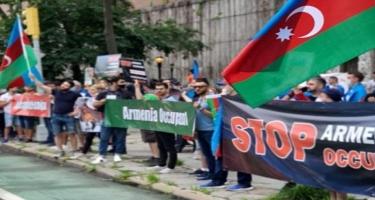 Ermənistanın BMT-dəki nümayəndəliyi qarşısında aksiya keçirilib - FOTO