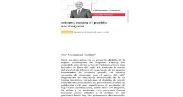 Meksika mətbuatında Xocalı soyqırımı haqda məqalə dərc olunub
