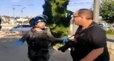İsrail polisi jurnalistlərə hücum etdi - VİDEO