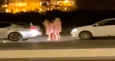 Bakıda yolun ortasında video çəkən qızlar qəzaya səbəb oldu - VİDEO