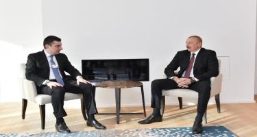 Prezident İlham Əliyevin Davosda Gürcüstanın Baş Naziri ilə görüşü olub - FOTO
