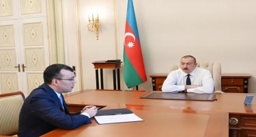 Prezident İlham Əliyev Əmək və Əhalinin Sosial Müdafiəsi naziri Sahil Babayevi qəbul edib