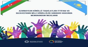 """Azərbaycan Könüllü Təşkilatları İttifaqı və Qazaxıstanın """"Milli Könüllülük Şəbəkəsi"""" arasında əməkdaşlıq sazişi imzalanıb (FOTO)"""
