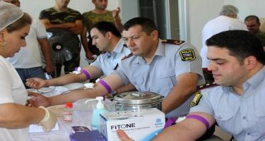 Qubada polis əməkdaşları qanvermə aksiyasında iştirak ediblər (FOTO)