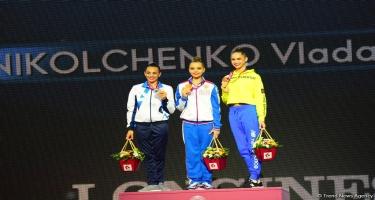 Bakıda bədii gimnastika üzrə dünya çempionatı finallarının qalibləri mükafatlandırılıb (FOTO)