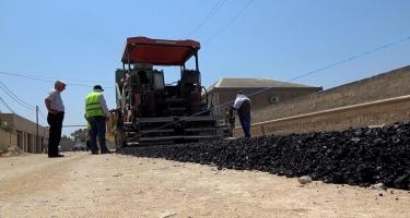 Xəzər rayonunda 24 km uzunluğunda yol yenidən qurulur (FOTO)