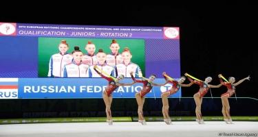 Rusiyalı gimnastlar Bakıda keçirilən bədii gimnastika üzrə Avropa çempionatının qızıl medalını qazanıb