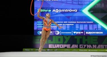 Bakıda bədii gimnastika üzrə Avropa çempionatının final mərhələsi davam edir (FOTO)