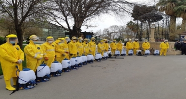 Səbail rayonunda dezinfeksiya tədbirləri davam edir (FOTO)
