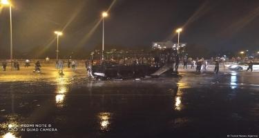 Bakıda avtobus yanaraq kül oldu (FOTO)
