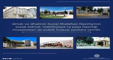 Sosial xidmət, reabilitasiya və peşə hazırlığı müəssisələri də publik hüquqi şəxslərə çevrilir
