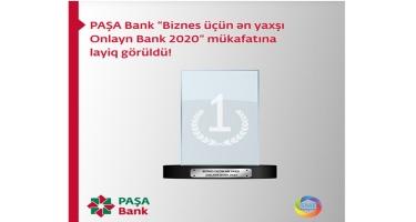 """PAŞA Bank """"Biznes üçün ən yaxşı Onlayn Bank 2020"""" mükafatına layiq görüldü"""